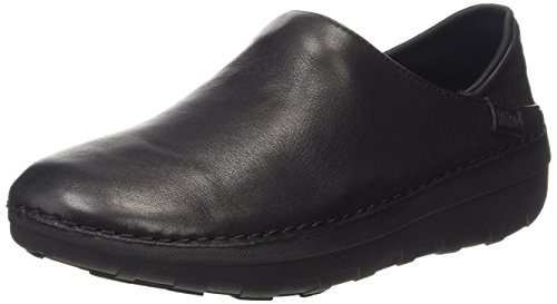 FitFlop Womens Superloafer Leather Slip on Shoes, All Black, US 6 by FitFlop
