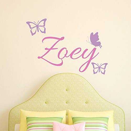 Custom Name Butterfly Wall Decal - Girls Personalized Name Butterflies Wall Sticker - Custom Name Sign - Custom Name Stencil Monogram - Girls Room Wall Decor