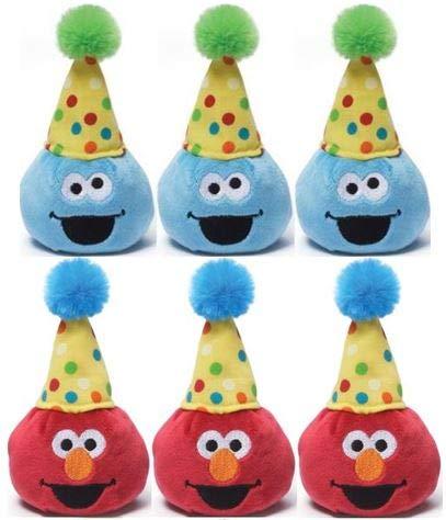 Gund Sesame Street 3.5 inch Birthday Beanbag Pals (3 Elmo and 3 Cookie Monster)