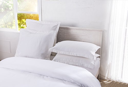 Sham Standard Matelasse - DreamSpace Quilted Pillow Shams Diamond Pattern Matelasse Tailored (2 Pack), Standard, White