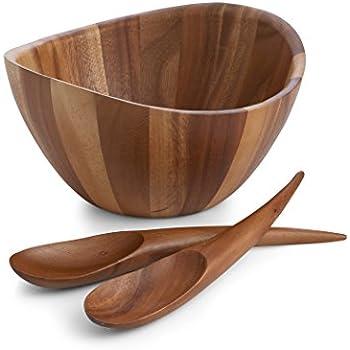 nambe gourmet harmony 3 piece wooden salad set - Wooden Salad Bowl Set