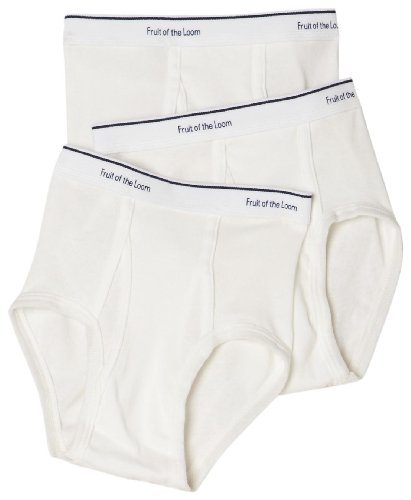 Fruit Of The Loom Little Boys' Full Cut Cotton Brief, White, Large(Pack of 3)