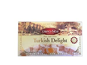 Turkish Delight with Plain, Sweet Confectionery Gourmet Gift Box Candy Dessert 17.62 oz, Halal Turkish Delight