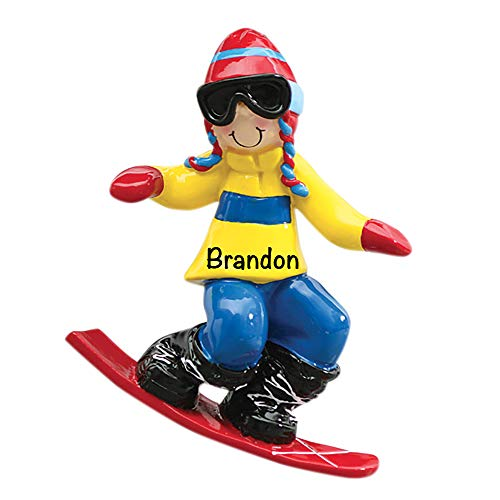 HolidayTraditions Snowboard Guy Personalized Ornament - Unique Christmas Tree Ornament - Special Keepsake - Custom Sports Decoration - Personalization Included