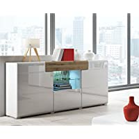Concept Muebles TOLEDO Collection Sideboard 26 – Elegant Sideboard in White glossy color with San Remo Oak elements – 3 Doors and1 Drawer plus central Glass shelf with LED lights