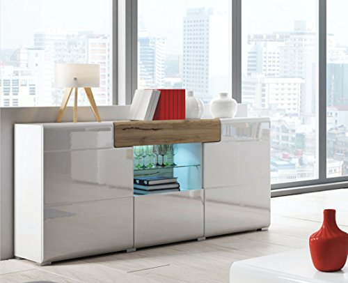 DO Collection Sideboard 26 – Elegant Sideboard in White glossy color with San Remo Oak elements – 3 Doors and1 Drawer plus central Glass shelf with LED lights (Light Oak Buffet)