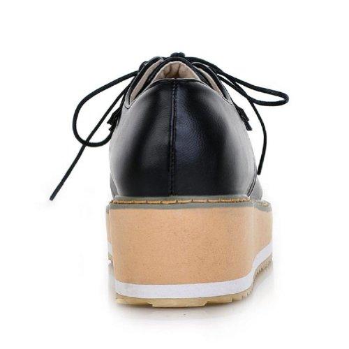 Charme Voet Vintage Preppy Stijl Dames Meiden Sleehak Platform Schoenen Maat 4.5-10 Zwart