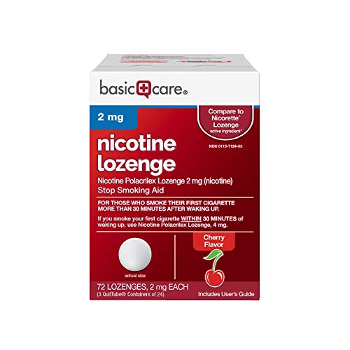 Basic Care Nicotine Lozenge, 2 mg, Cherry, 72 Count from Basic Care