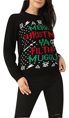 Momo&Ayat Fashions Ladies Mens Merry Christmas You Filthy Muggle Xmas Jumper US Size 4-14 (Large (US 12-14), Black) (Christmas Jumpers Primark)