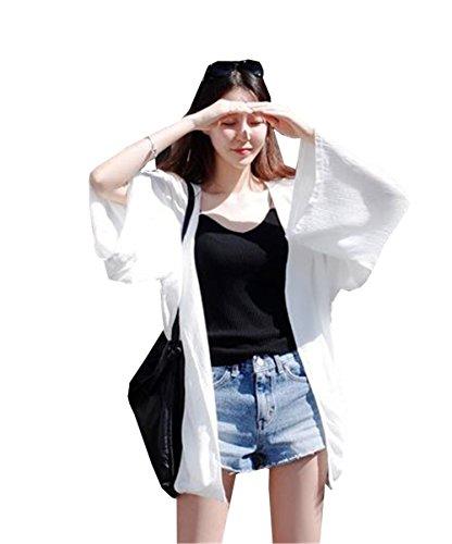 [ヤンーチ] レディース カーディガン ビーチウェア 日焼け止め 冷房対策 ふんわり 白 ゆったり
