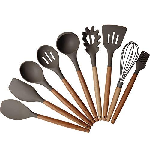 (FamilyDate Kitchen Utensil Set - Baking Tool Set - Gourmet Non-Stick Silicone Cooking Tools Bamboo Handles - Silicone Cooking Utensil Set - Gear Silicone Kitchen Utensils)