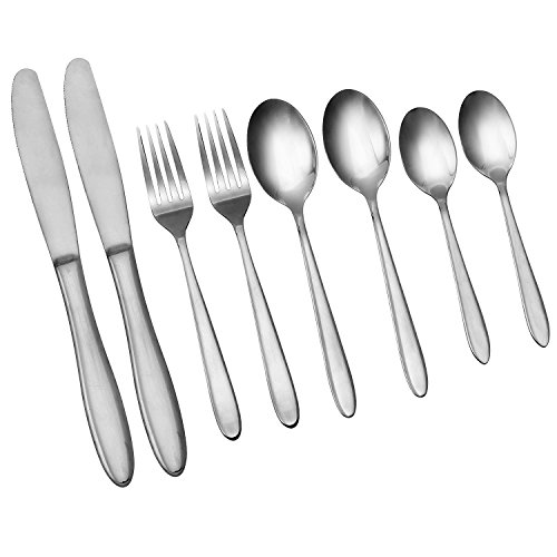 Silver Flatware Cutlery 8-Piece Set, 18/10 Stainless Steel Tableware Fork Knife Spoon With Mirror Polished Luxury Design, Restaurant & Hotel Quality Dinnerware Set (8)