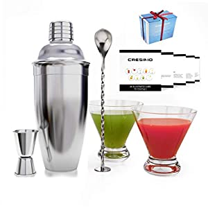 Set cocktail shaker 24oz - Kit cocktail con 2 bicchieri da Martini - Starter kit cocktail perfetto con guida - Set… 1 spesavip