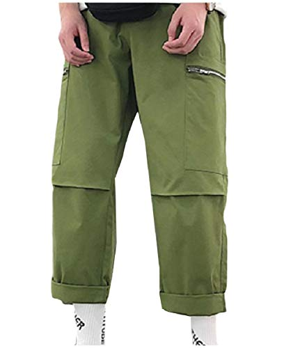 Zimaes-Men Pocket Hiphop Washed Elastic Waist Straight Combat Karate Pants Army Green XS