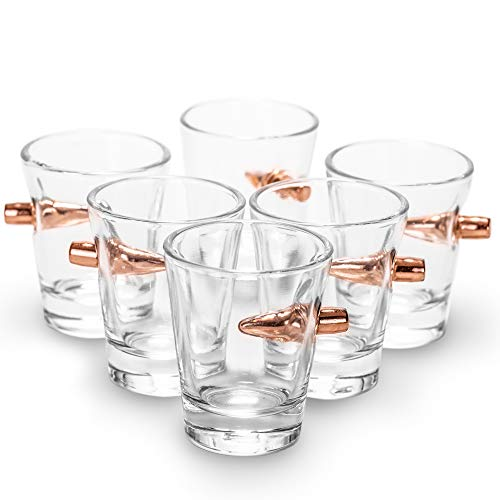 Lucky Shot .308 Real Bullet Handmade Shot Glass Set of 6