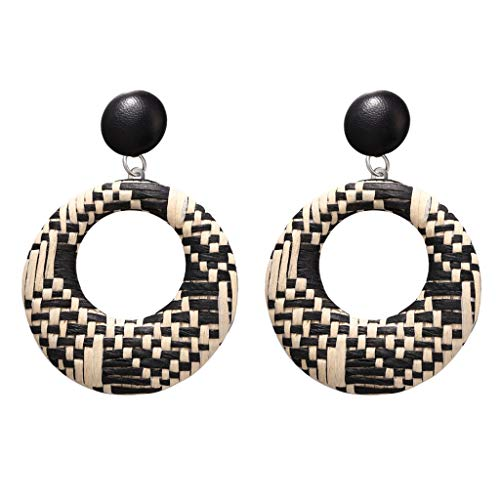 LODDD New Women Earrings Bohemian Style Wood Bamboo Rattan Geometric Round Earrings Ladies Jewelry