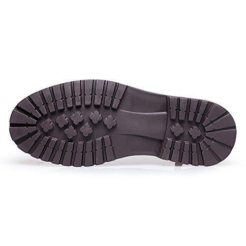 Rismart Hombres Superior Calidad Genunine Cuero de Vaca Encajes Tacón Bajo y Grueso Casual Cuero Mocasines Zapatos Negro