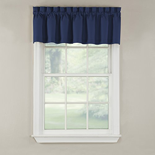 GPD Newport 60-inch x 12 inch Rod Pocket Valance Window Curtain, Navy - Window Valances Blue