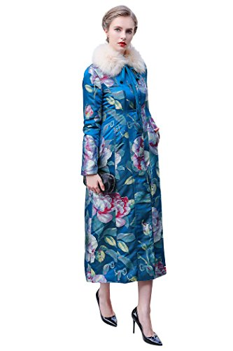 VOA Winter Fox Fur Collar Blue Silk Jacquard Chinese Style Vintage Warm Coat Women Long Parka Coat M7261