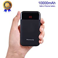 Portable Battery Charger 10000mAh Mobile Phone Battery Backup Light Weight Power bank Safe Li_Polymer LCD Cell Phone External Battery Pack 2.4A Fast Speed 2 Outputs (Black) foriPhone iPad Samsung