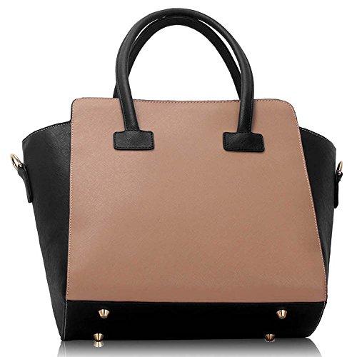 Funda de piel sintética nuevo bolso de mano para mujer moda bolso de hombro bolsas mujer grande, color morado, talla L Negro/Nude