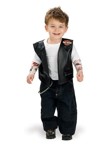 [Lil' Biker Boy Harley Davidson Costume - Toddler/Infant, Size (1-2)] (Biker Kid Costume)