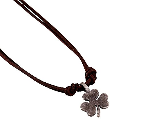 Retro Vintage Estate Jewelry (Leather Store Mens Punk Metal Shamrock Alloy Pendant on Leather Cord Necklace)