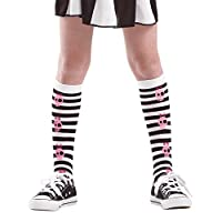 Pink Skull Black Striped Tights | Kids Halloween Costume & Dress Up Stockings