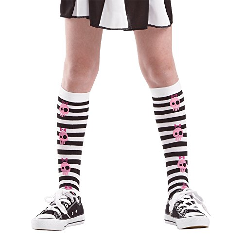Striped Knee-High Pink Skull Halloween Costume Cosplay Costume Tights (Large)