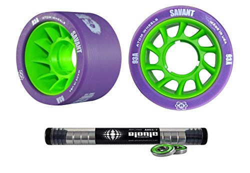 Atom Savant Skate Wheels with Bionic Bearings 8mm Full Set of 8 Purple 93A ()