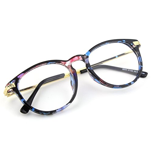 [Happy Store CN92 Fashion Keyhole Metal Temple Oval Horn Rimmed Clear Lens Glasses,Mixed Color A] (Geek Chic Glasses)