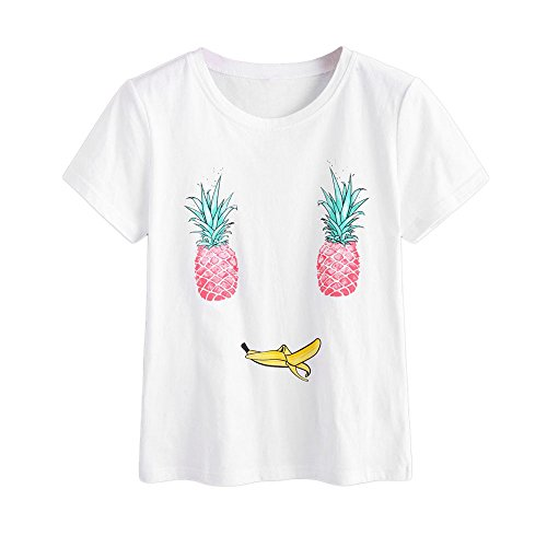 SMALLE Women Fashion O-Neck Cotton Blend Pineapple Printing Top Short Sleeve T-Shirt Tops (M, White (Match Day Shirt)