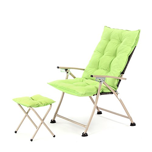CampLand Deluxe Padded Reclining Chair with footrest Adjustable Camping Fishing Folding Cushion Relax Lazy Chair (Green, One Pack) -