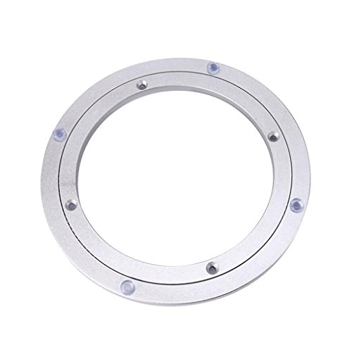 Homyl Heavy Duty Turntable Bearing Rotating Round Dining Table Swivel Plate 5/16 Thick for for Cake Decorations, Rotating Book Racks, Food Display, Serving Trays - Silver, 8 Inch