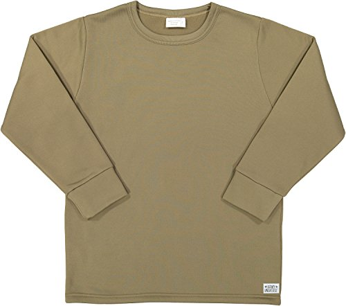 Coyote Brown AR 670-1 Compliant Cold Weather Thick ECWCS Military Thermal Crew Neck Top Shirt Undershirt with ArmyUniverse Pin (Chest 38-40) (Ecwcs Thermal)