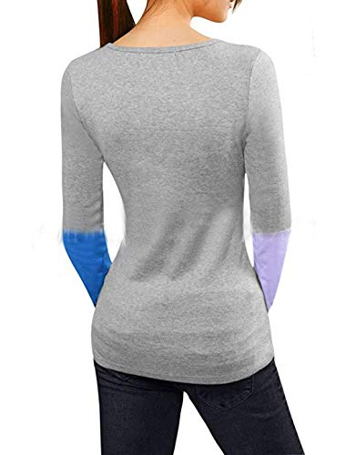 Manches Tops Rond Printemps Blouse Gris Slim Fashion Pulls T JackenLOVE Shirts Automne Hauts Col Longues Sweat et Patchwork Femmes Jumpers Pullover Casual Shirts dTCxw0Uxq