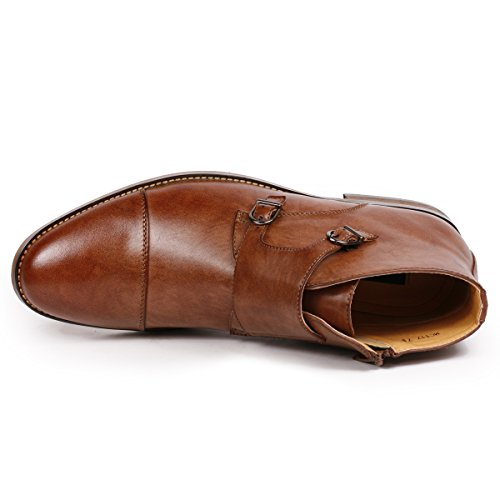Strap Men's Dress Monk Ankle Brown Casual Formal Metrocharm Cap MC117 Toe Boots Double RCwnqa6Y