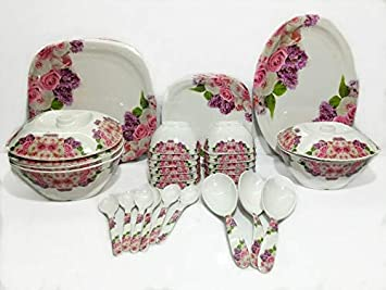 PAAKHI 40 PC Pink Flower Magic Dinner Set