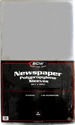 Newspaper Collector ((50) Newspaper Sleeves - 14-1/8
