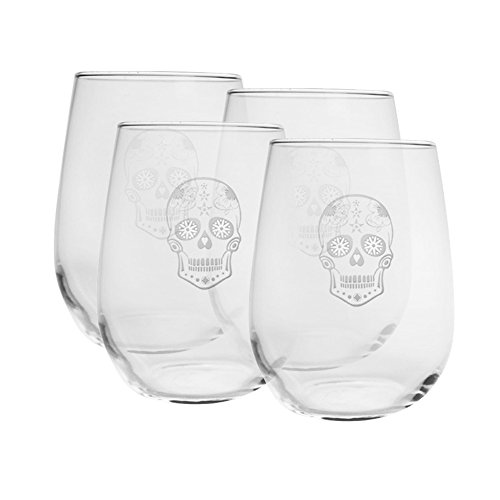 Rolf Glass Sugar Skull Stemless Wine Glass  Set Of 4   17 Oz  Clear
