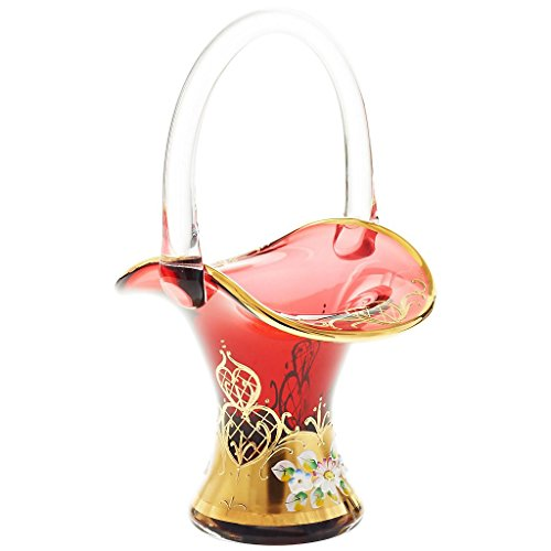 (CRISTALICA Chocolate/Praline Basket Red Queen 24 cm (9.5 in), red/Gold, Glass (German Crystal Powered)