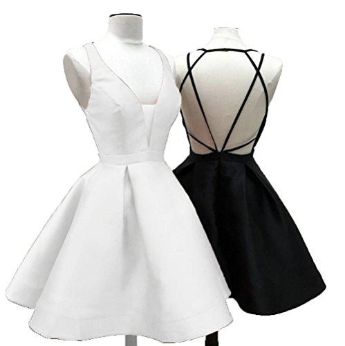 Weiß Kleid Linie Fanciest Damen A 0CaFFq