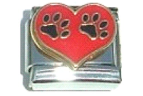 Stylysh Charms PET Paws Dog CAT RED Heart Enamel Italian 9mm Link DG010 ()