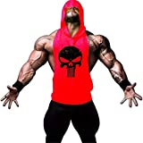 GZXISI Mens Skull Print Stringer Bodybuilding Gym Tank Tops Workout Fitness Vest (Red Hoodie, Large)