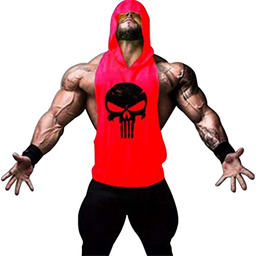 GZXISI Mens Skull Print Stringer Bodybuilding Gym Tank Tops Workout Fitness Vest (X-Large, Red (Seamless Hoodie Top)
