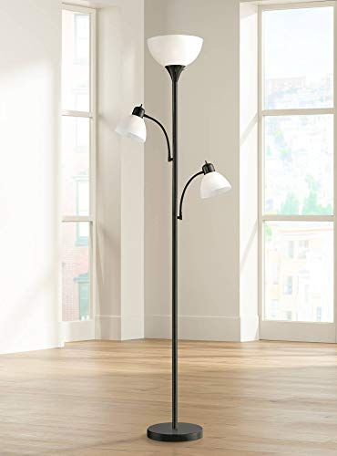 Bingham Modern Torchiere Floor Lamp 3-Light Tree Black Metal White Shades for Living Room Reading Bedroom Office Uplight - 360 - Floor Pole Ceiling Lamp