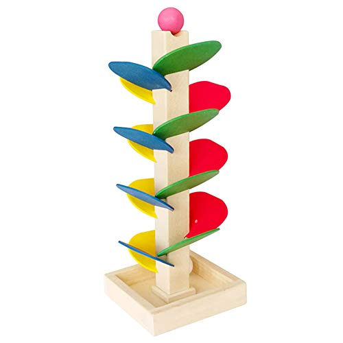 Baby Kids Wooden Tree Marble Ball Run Track Assembling Educational Toy Game - Maze Tracker Ball