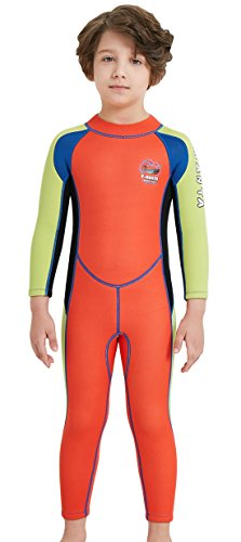 (DIVE & SAIL Wetsuits for Kids Boys Girls Rash Guard One Piece Diving Swimsuit UV Protection Coloful Swimwear Orange XL)