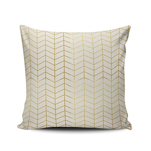 XIUBA Throw Pillow Covers Case Ivory Herringbone Pattern Faux Gold Foil Ivory Geometric Decorative Pillowcase Cushion Cover 20 x 20 inch Square Size One Side Design Printed (Gold Foil Cover 1)