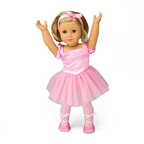 Ballet Outfit Doll Clothes for American Girl Dolls - Includes Ballerina Slippers, Leotard, Tutu, and Hair Bow - Ballet Dolly